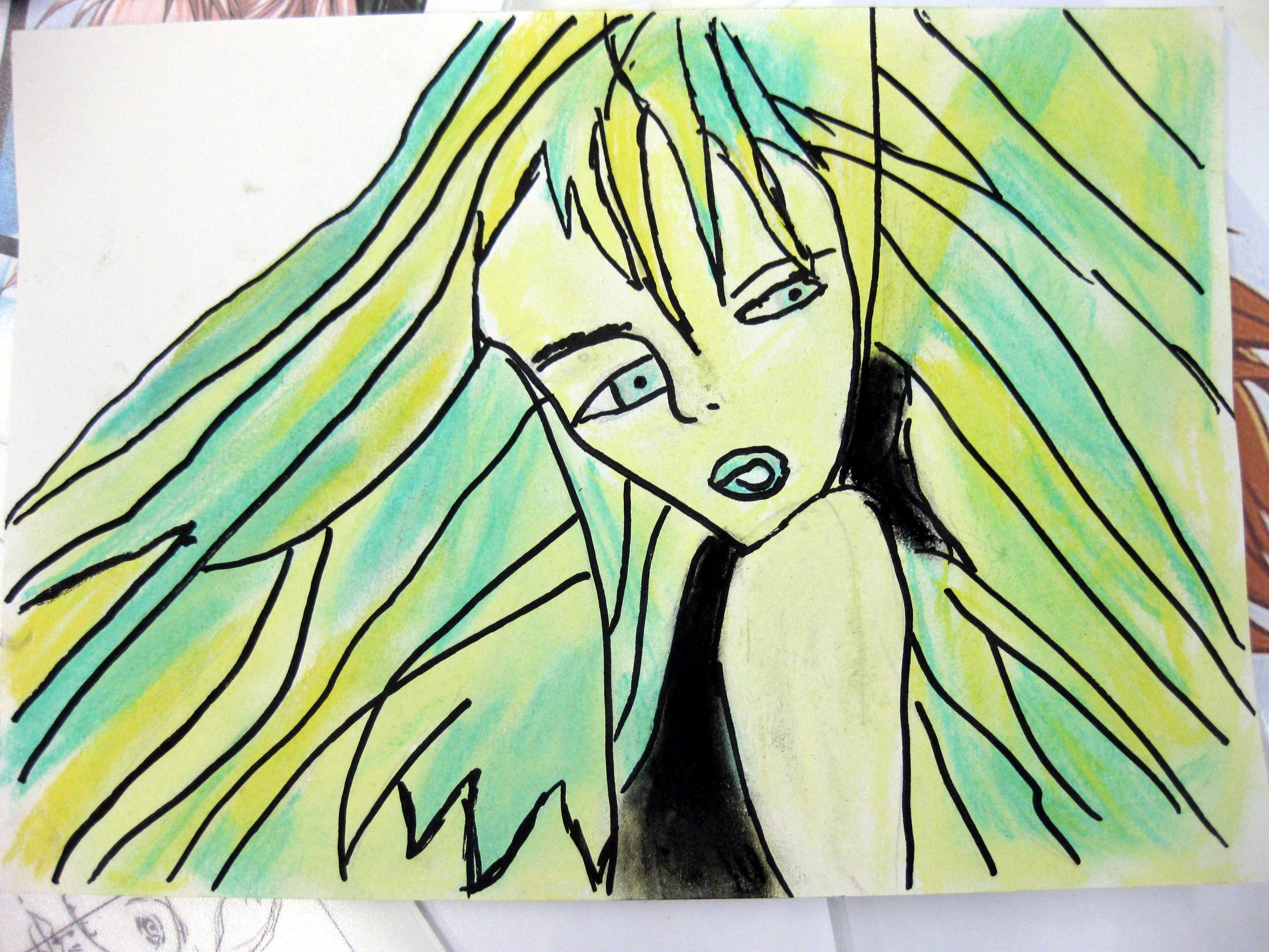 Manga mit grünen Haaren