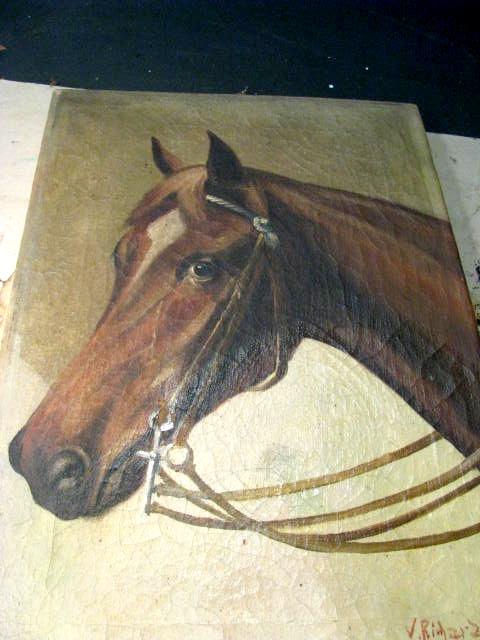 Hier sieht man schon die Fortschritte. Rechts unter dem Hals des Pferdes erkennt man auch das zwei mal gereinigt werden muss.
